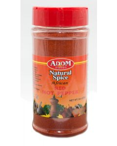 Adom Foods Natural Spice African Red Hot Pepper - Imported Spice - Hot & Tasty African Seasoning -  8oz