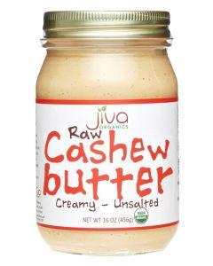 Jiva Organics Raw Cashew Butter - Creamy - Unsalted, Certified Organic, 16oz