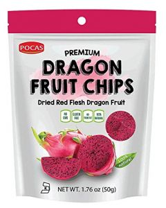 Pocas Premium Dragon Fruit Chips - 100% Natural Fruit Snack, Healthy Snack, Gluten-Free, Sugar-Free, 1.76oz