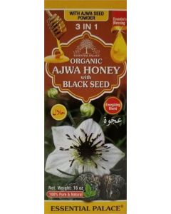 Essential Palace Organic Ajwa Honey with Black Seed - Pure & Natural - 16oz