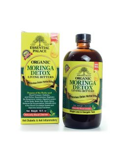 Essential Palace Organic Moringa Detox Living Bitters - Miraculous Detox Bitters - New 5 in 1 - 16oz