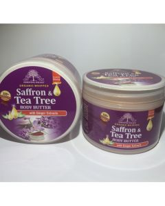 Essential Palace Organic Whipped Saffron & Tea Tree Body Butter with Ginger Extracts , with Shea Butter- 6oz
