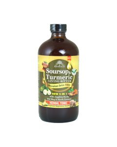 Essential Palace Soursop & Turmeric Living Bitters - New 5 in 1 With Angelica Roots, Nut Meg & Myrrh Extracts, Non-GMO - 16oz