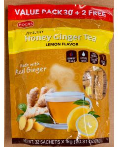 Pocas Tea – Honey Ginger Tea – Lemon Flavor – Value Pack – (32 Sachets x 18g)