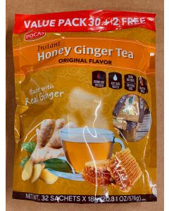 Pocas Tea – Honey Ginger Tea – Original Flavor – Value Pack – (32 Sachets x 18g)