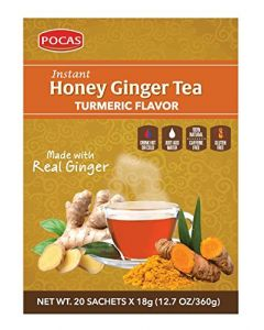 Pocas Instant Honey Ginger Tea with Turmeric Flavor, 100% Natural, 20 Convenient Powder Sachets Just Add Water, 12.7 oz