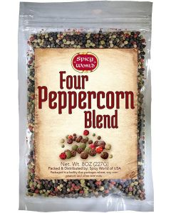 Spicy World Four Peppercorn Blend - Whole Black, Green, White & Pink Peppercorns - Non GMO - 8oz