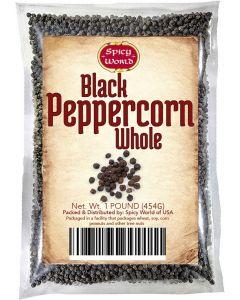 Spicy World Whole Black Peppercorns Tellicerry - Non-GMO Black Pepper  - 16 Oz. Bag