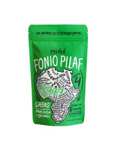 Yolélé Fonio Grain Pilaf Mix - Greens! Moringa + Spinach, Gluten Free, Nutrient-Rich, Organic, Ancient Grain-7 oz